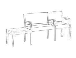 Bariatric Open Arm Side Chair / Accepts Any Table on Left and Seat on Right
