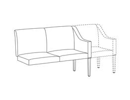 Two Place Sofa / Add-A-Seat / Accepts Seat on Right