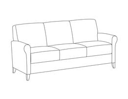 Three Place Sofa / Fully Upholstered