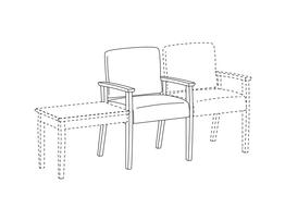 Arm Chair / Wood Arms / Accepts Any Table on Left and Chair on Right
