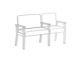 Bariatric Chair / Wood Arms / Accepts Seat on Right