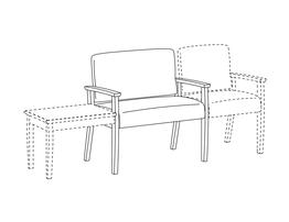 Bariatric Chair / Wood Arms / Accepts Any Table on Left and Seat on Right
