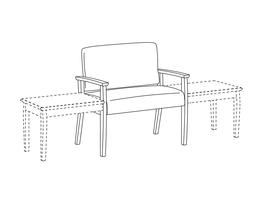 Bariatric Chair / Wood Arms / Accepts Any Table on Left and Right