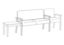 Two Place Sofa / Wood Arms / Accepts Any Table on Left and Seat on Right