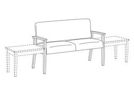 Two Place Sofa / Wood Arms / Accepts Any Table on Left and Right