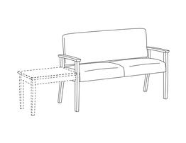 Two Place Sofa / Urethane Arms / Accepts Table on Left