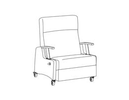 Bariatric Three Position Recliner / Drop Down Arm w/ Upholstered Task Arm Cap