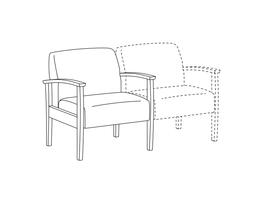 Lounge Chair / Wood Arms / Accepts Seat on Right