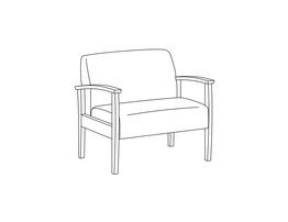 Bariatric Lounge Chair / Wood Arms