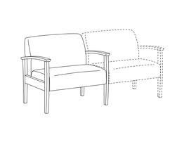 Baraiatric Lounge Chair / Wood Arms / Accepts Seat on Right