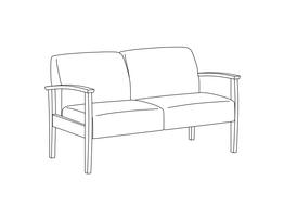Two Place Sofa / Wood Arms