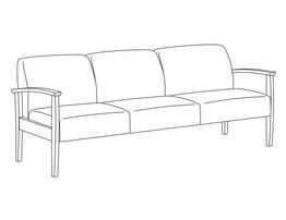 Three Place Sofa / Wood Arms