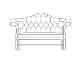 Two Place Sofa / Straight Fluted Leg